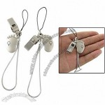 Pair Boy Girl Foot w Whistle Pendants Phone Strap Gift for Lovers
