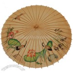 Paper Umbrella with Cranes, Lotus, and Bamboo