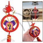 Party Home Red Circle Ring Dangle Double Tassels Butterfly Chinese Knot Ornament