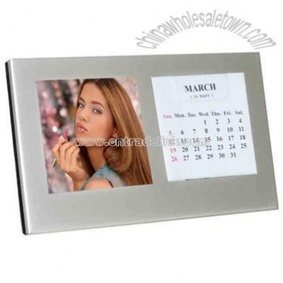 Pearl metal silver wedding photo frame with perpetual calendar