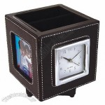 Pen Holder Photo Frame Leather Clock with Alarm