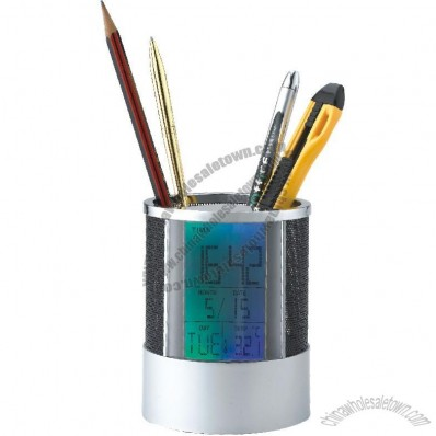 Pen Holder With Changing Color Backlight Clock