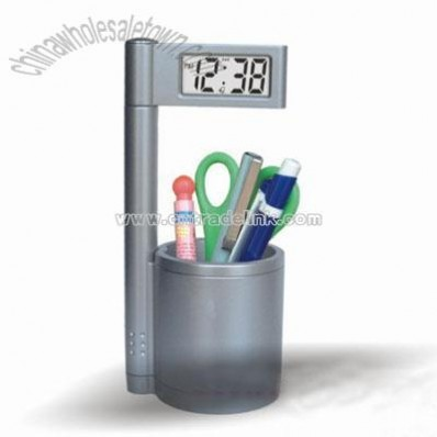 Pen Holder with Clock