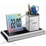 Pen Holder with Colorful Calendar Clock