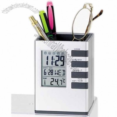 Pen Holder with Digital Clock Calendar