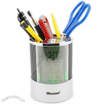 Pen Pencil Holder and Digital Clock, Temperature Display