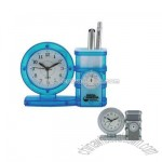 Pen holder clock with temperature gauge and alarm
