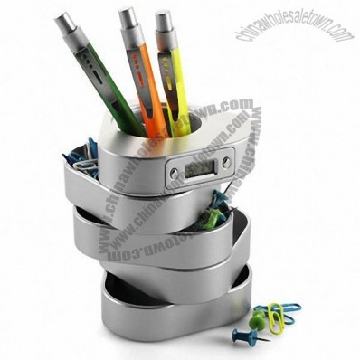 Pen holder with clock and rotating storage trays