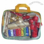 Percussion Musical Set with Maracas, Bells, Glockenspiel, Castanet, Kazoo, Triangle and Calves