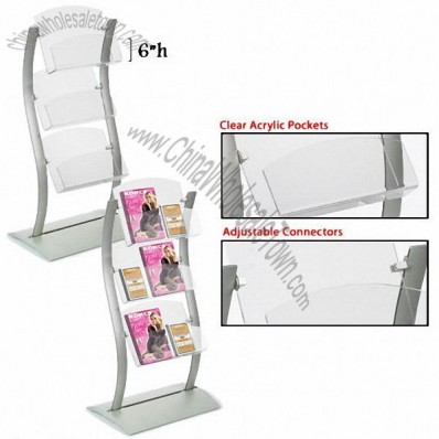 Periodical Rack, Wave-Shaped Stand w/ Acrylic Holders