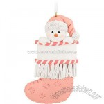 Personalized Pink Stocking Snowman Ornament
