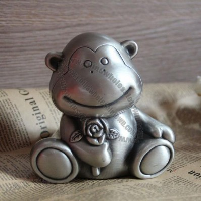 Pewter Cute Monkey Piggy Money Bank