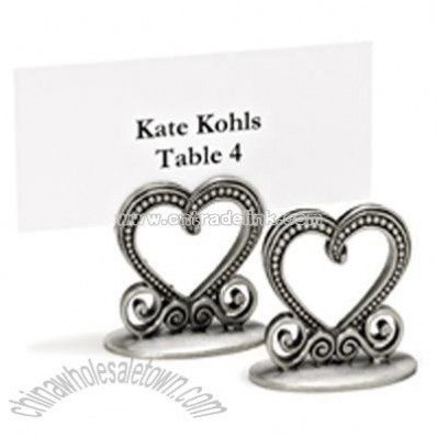 Pewter Heart Place Card Holders