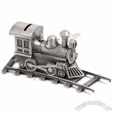 Pewter Train Bank with Tracks