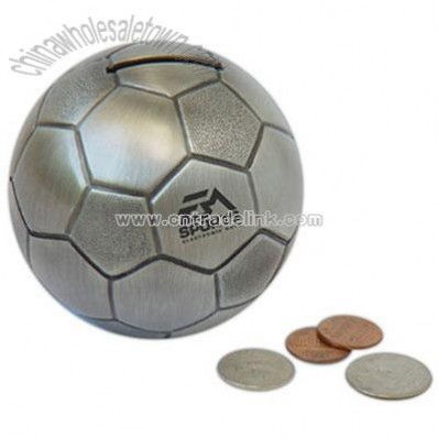 Pewter finish soccer money bank