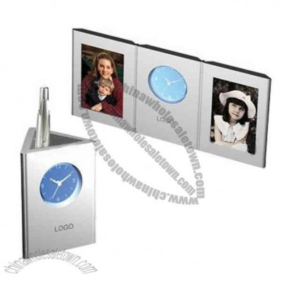 Photo frame with clock and pen holder