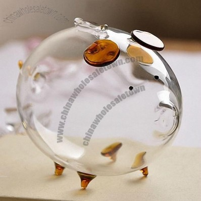 Pig Shaped Glass Money Bank