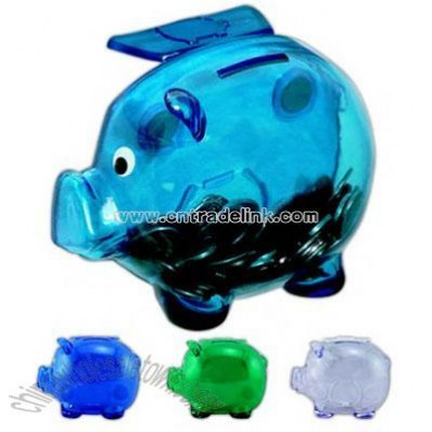 Pig coin bank with four magnets on back