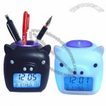 Piggy Glowing LED Digital Mood Clock with Pen Holder