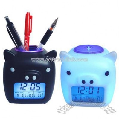 Piggy Glowing LED Digital Mood Clock with Penholder