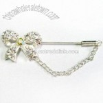 Pin Brooch with Chain and Diamantes