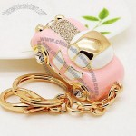 Pink Car Pattern Gold-Plated Alloy Keychains With Rhinestone And Enamel