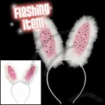 Pink Flashing Bunny Ears with Delicate Sequin