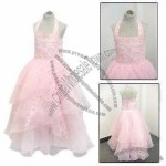 Pink Halter Long Length Flower Girl Dress