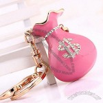 Pink Wallet Gold Plated Alloy Keychain With Rhinestone And Enamel