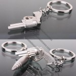 Pistol and Bullets Metal Keychain