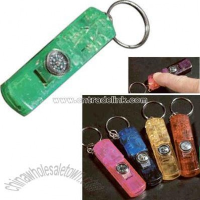 Plastic 3 in 1 whistle compass and light keychain