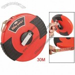 Plastic Case Retractable Salmon Pink Fibre Tape Measure Ruler 30M