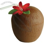 Plastic Coconut Cup With Flower & Straw 16oz