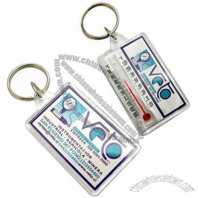 Plastic Keychain with Printed Design Insert and Thermometer