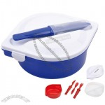 Plastic Lunch Box with Knives, Forks, Spoons Set