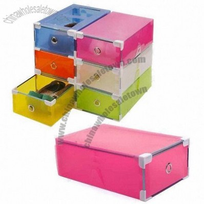 Plastic Shoe Box with Transparent Colorful Storage Box/Plastic Clear/Drawer Type