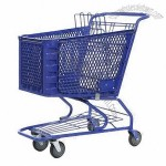 Plastic Shopping Cart With Plastic Basket And Metal Bottom