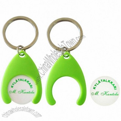 Plastic Shopping Trolley Coin Holder Keychain