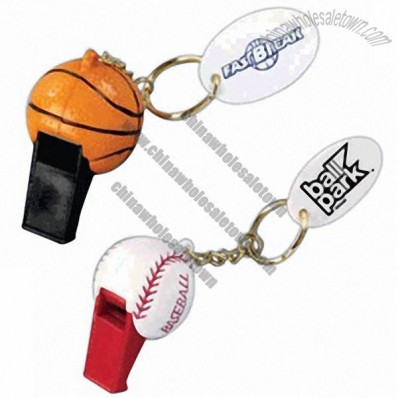 Plastic Sports Ball Shape Whistle Key Tag