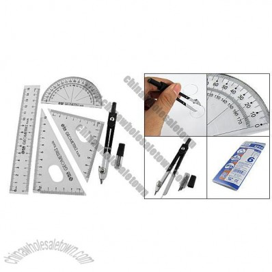 Plastic Triangle Ruler Protractor Metal Compass 5 Pcs Drawing Tool