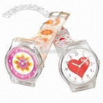 Plastic Watch with Transparent Case and Colorful Straps