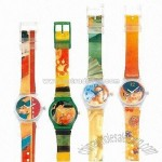 Plastic Watches with Transparent Case and Colorful Straps