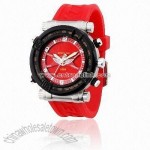 Plastic Wrist Watch with Alloy Case and Silicon Band