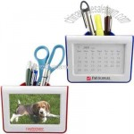 Plastic a monthly calendar with pen holder