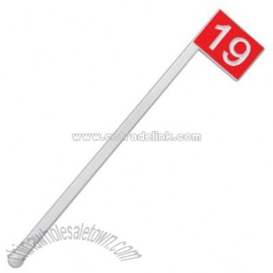 Plastic cocktail stirrer with 19th hole