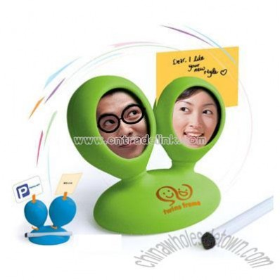 Plastic double photo frame