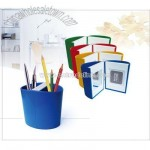 Plastic pen holder with photo frame