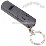 Plastic whistle keyring with flashlight