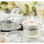 Platinum Coffee Cup, Miniature Teacup & Saucer Tealight Candle Holders
