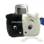 Plush Black and White Pig Mobile Holder